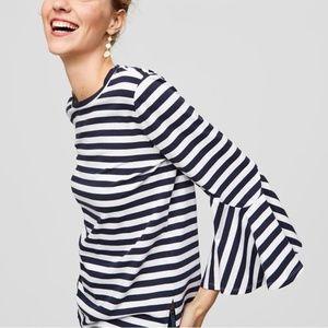 LOFT blue striped bell sleeve t-shirt blouse, MP